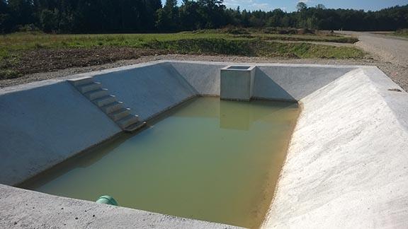 Im Pumpenschacht steht das Wasser